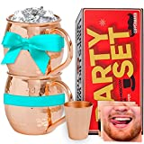 Coppermania Moscow Mule 100% Pure Copper Mugs Set Of 2 - 16 Oz Each Cup ...